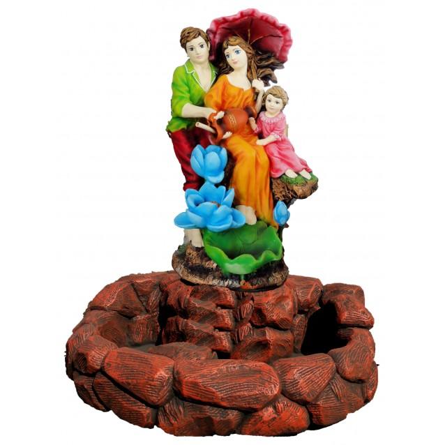 Фонтан «Семья под зонтиком», бассейн под камень, художественная роспись