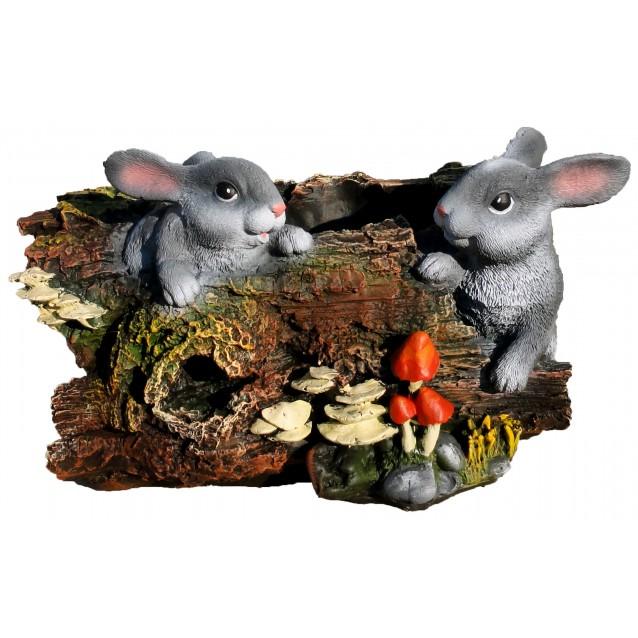 Кашпо «Бревно с зайцами»