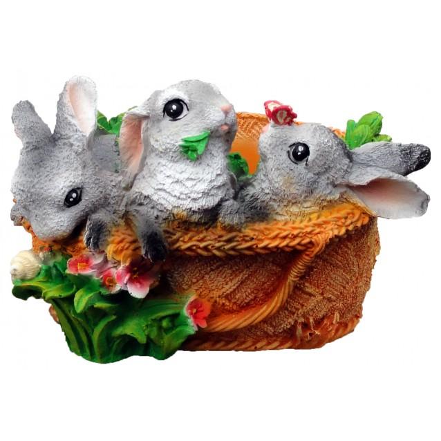 Кашпо «Зайцы в лукошке»