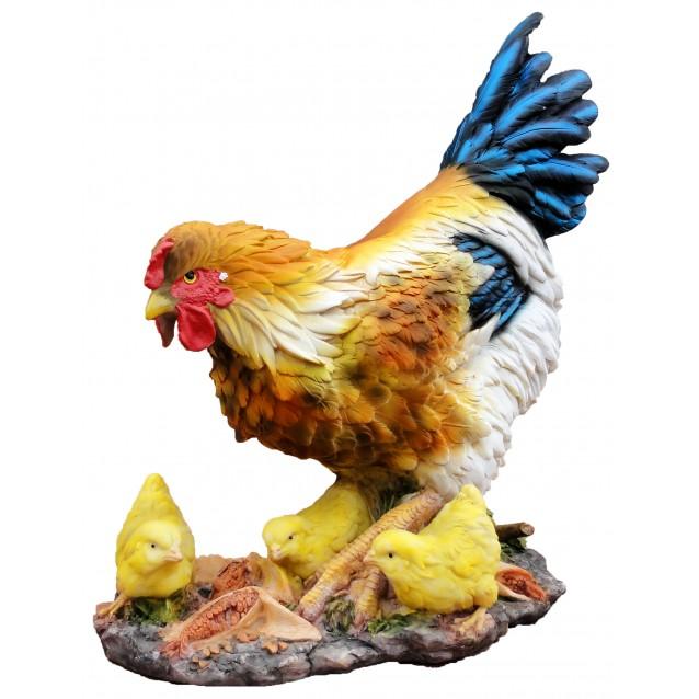 Скульптура «Курочка с цыплятами на полянке»