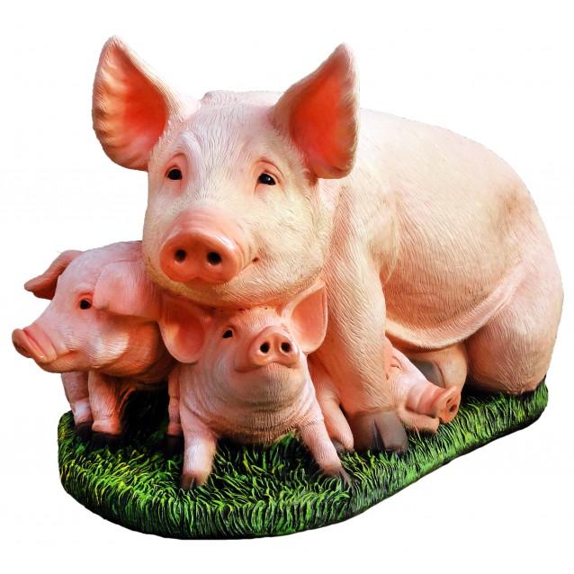 Садовая фигурка «Свинья с поросятами»