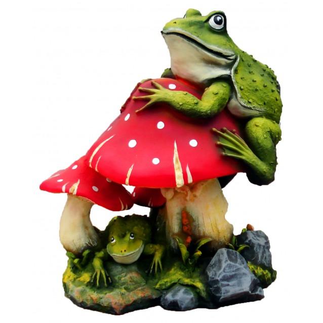 Скульптура «Мухомор с лягушками» большой